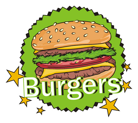 sesame street: Burger stick out from circle banner