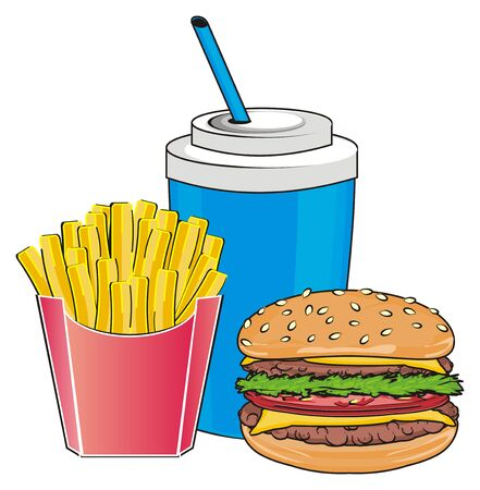 Fast food with drink in ppaer glass with tube