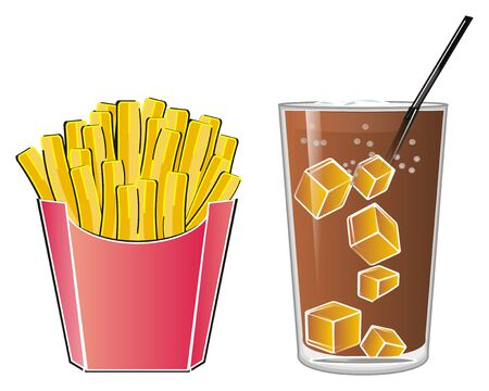 Glass of soda with french fries