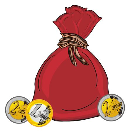 Full bag with coins of euro Stock Photo