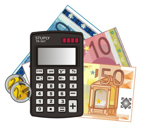 many colored: Calculator with cash of euro