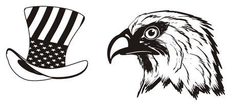 bandera de peru: Black and white head of eagle with hat Foto de archivo