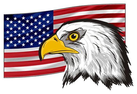 bandera de peru: American flag and head of eagle Foto de archivo