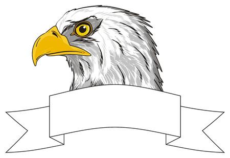 Hoofd van adelaar met schoon wit lint Stockfoto