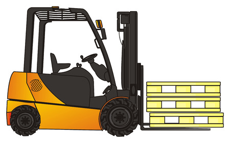 Yellow forklift with pallets Stock Photo