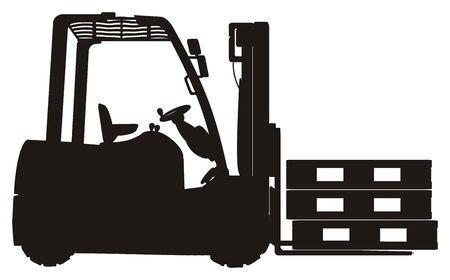 Solid black forklift with pallets