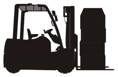 Solid black forklift with boxes