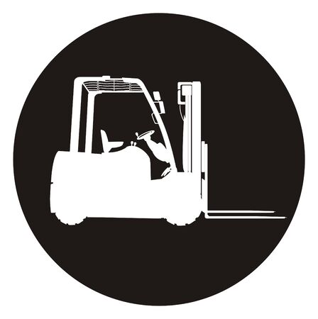 Solid white forklift on the black circle Banco de Imagens