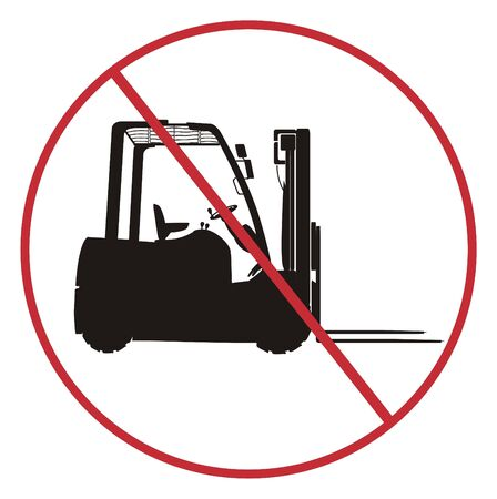 Solid black forklift on the red ban