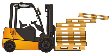 Many fall pallets from forklift