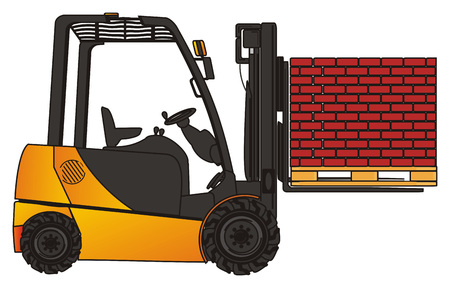 Forklift with many bricks Stock Photo