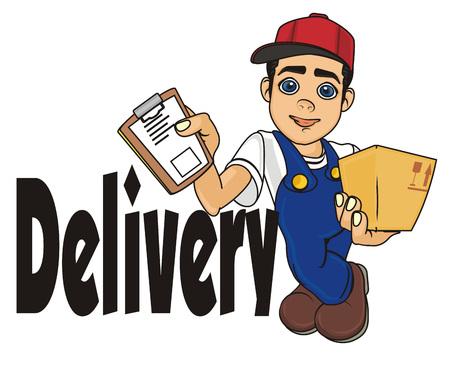 Delivery with courier Stock Photo