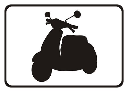 Solid black moped on the plate Stock Photo