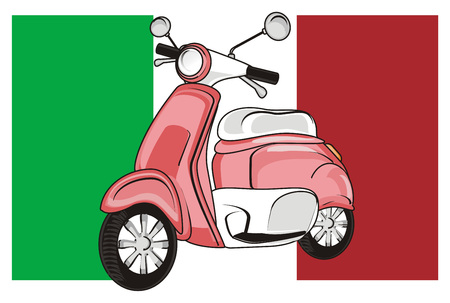 Pink moped with Italy flag Stock Photo