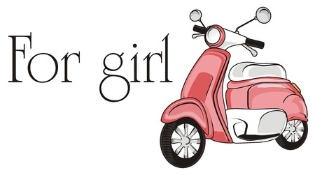 Pink moped for girl