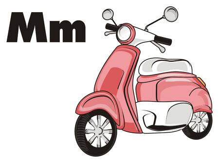 Pink moped and black letters m