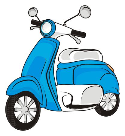 One blue moped Stock Photo