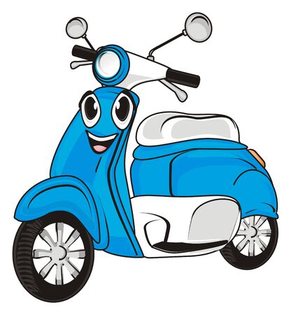Happy face of blue moped