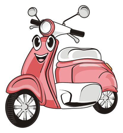 Happy face of pink moped