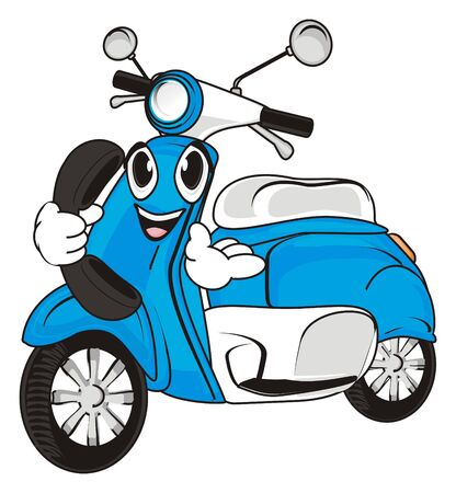 Happy face of blue moped with headphone