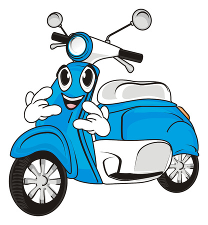 Happy face of blue moped show gesture