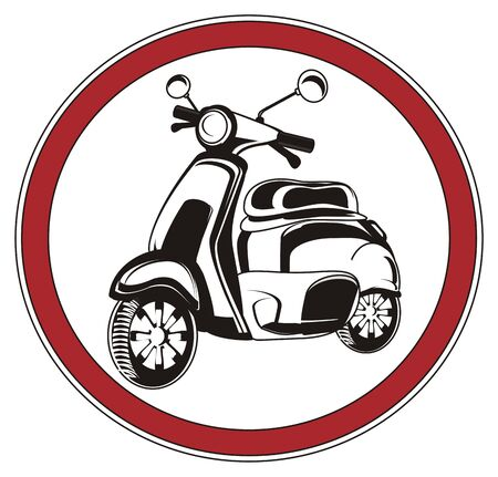 Black and white moped on the red road sign Stock Photo