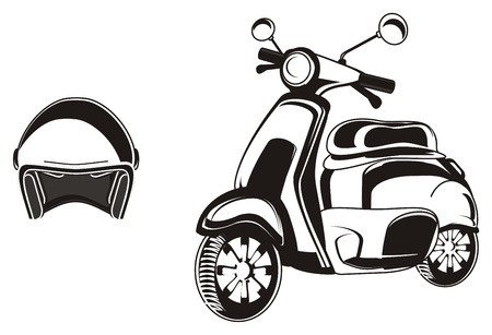 road bike: Black and white moped with helmet
