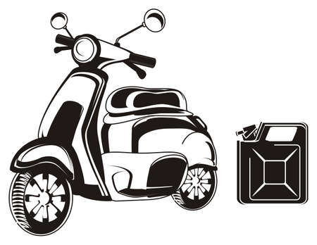 Black and white moped with canister Stock Photo