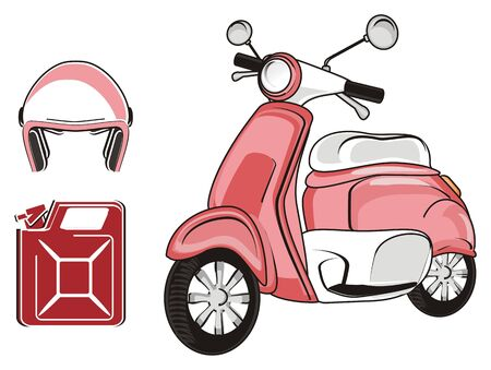 Pink moped with canister and helmet