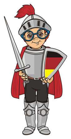 cloak: knight with Germany flag Stock Photo