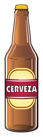 bottle of beer with word cerveza Stock Photo