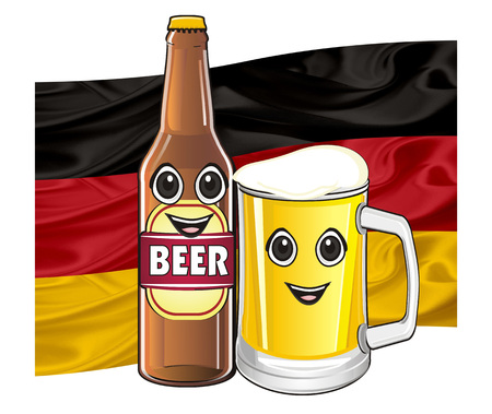 smiling faces of a bottle of beer with colored flag