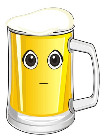 face glass of beer with out emotion Imagens