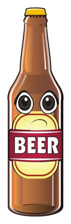 sad face of bottle of beer