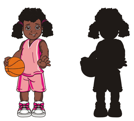 colored afro girl standing with solid black girl