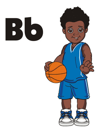 smiling afro basketball player boy and letters b