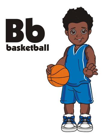 Basketballspieler Junge und abc Standard-Bild - 85949478