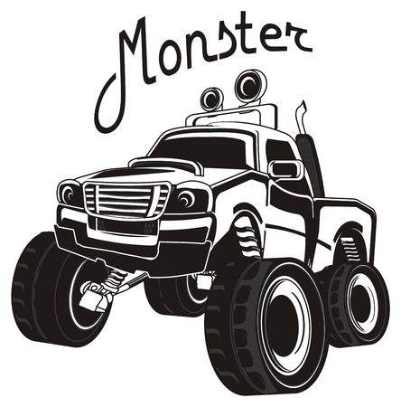 black and white monster truck and his name Banco de Imagens