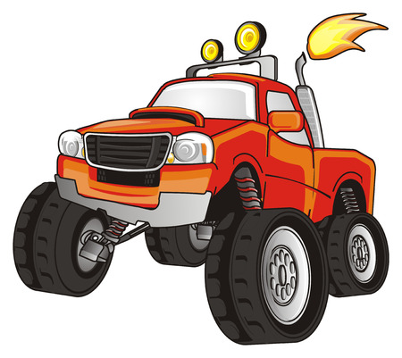 orange monster truck with a fire