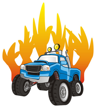 monster truck on the fire