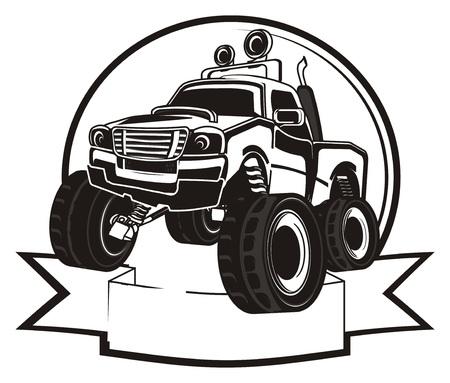Schwarz-Weiß-Monster Truck Und Worte Lizenzfreie Fotos, Bilder Und ...
