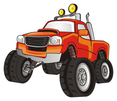 orange monster truck Stock Photo