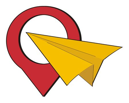 paper plane and large red location