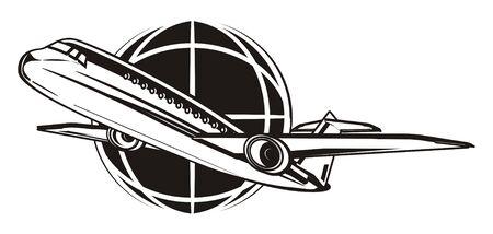 black plane with black earth