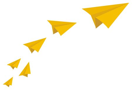many paper planes fly Stock Photo