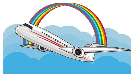plane fly on the sky with a rainbow