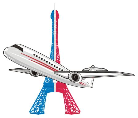 plane and colored Eiffel tower