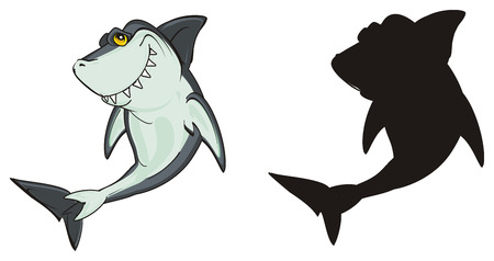 colored shark with solid black shark