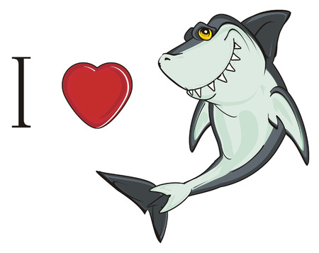 i love shark Banco de Imagens