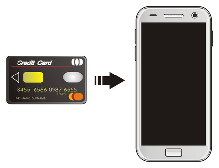 credit card with arrow near the mobile